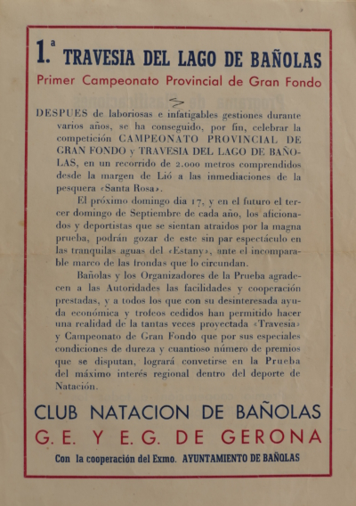 1944 Cartell 1a Travessia Estany Banyoles